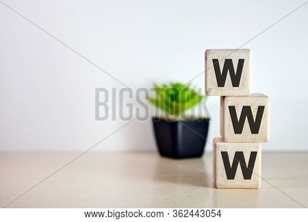 Www - Text On Wooden Cubes, On Wooden Background. Flower In A Pot