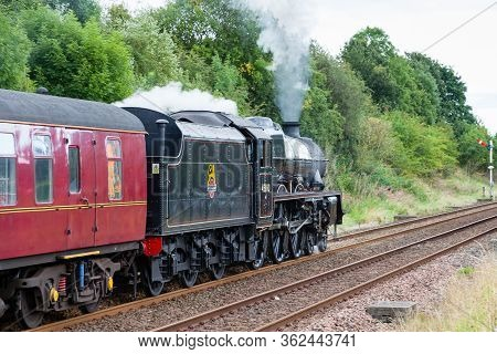 Appleby, England - August 27:  Steam Train 45690, Leander Departs Appleby In Cumbria, England On Aug