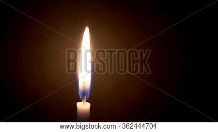Candle Fire Light Or Glowing Candlelight Bright, In Night, Used In Halloween Mourning Loss, Death Me