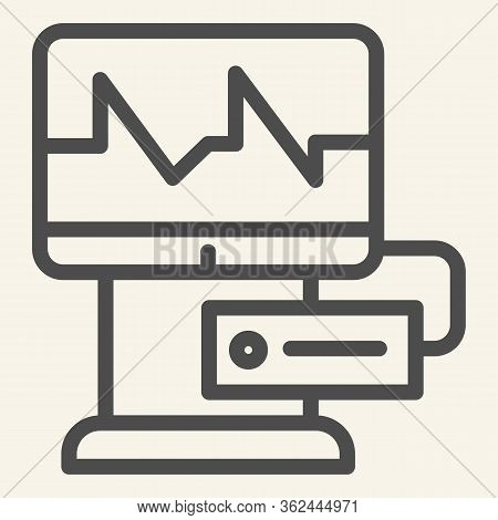 Cardiograph Line Icon. Electrocardiogram On Monitor Outline Style Pictogram On White Background. Med