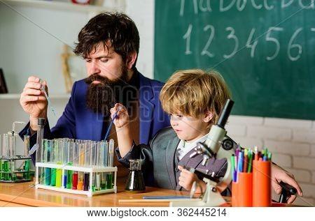Teacher Child Test Tubes. Kid Cognitive Development. Cognitive Concept. Mental Process Acquiring Kno