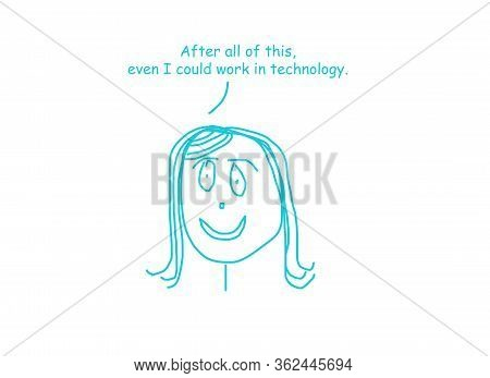 Color Cartoon Showing A Smiling Woman Saying Tht After Her Steep Learning Curve, Even She Could Work