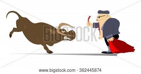 Cartoon Bullfighter Shows A Red Card To The Angry Bull Illustration. Cartoon Bullfighter With Matado