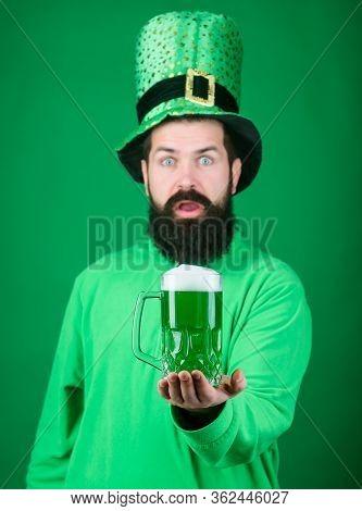 Lets Start Patricks Party. Irish Tradition. Man Brutal Bearded Hipster Drink Pint Beer. Irish Pub. D