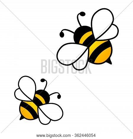 Cut Honey Bees Isolated On The White Background. Vector Illustration.