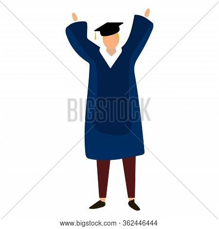 Male Student In Traditional Graduation Gown, Cartoon Style Illustration Isolated On White Background