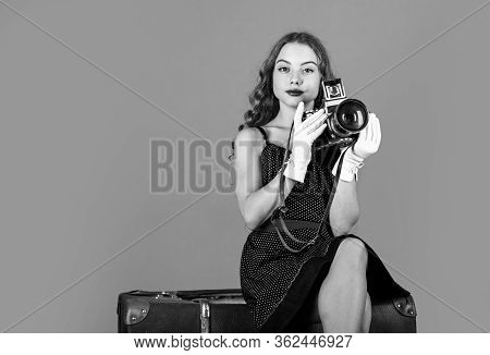 In Her Own Style. Slr Camera. Beautiful Child Photographer Hold Retro Camera. Travel Journalist Lugg