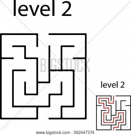 Education Logic Game Labyrinth For Kids. Find Right Way. Isolated Simple Square Maze Black Line On W