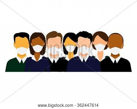 Group Of Multiethnic Men And Women Wearing Medical Masks. Disease, Flu, Contaminated Air, World Poll