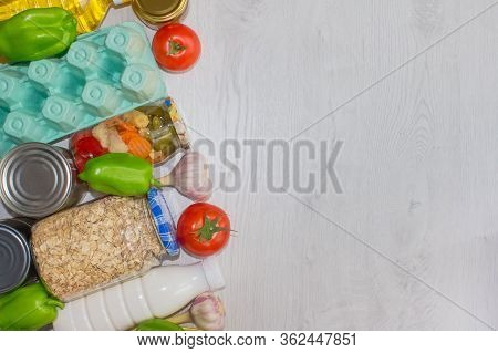 Different Food On Wooden Background With Copyspace - Pasta, Fresh Vegatables And Semi-finished Produ