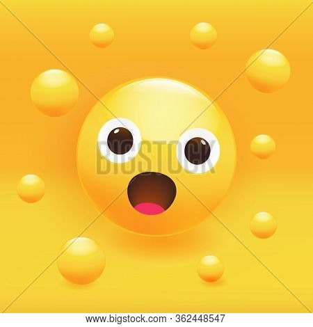 Adorable Cute Surprised Smile Icon. Vector Illustration.