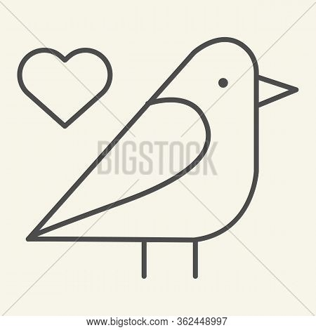 Sparrow Bird Thin Line Icon. Small Finchlike Bird With Heart Symbol Outline Style Pictogram On White