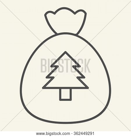 New Year Bag Thin Line Icon. Santa Christmas Bag With Firtree Outline Style Pictogram On White Backg