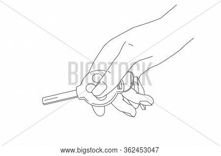 Line Illustration Of Hand Holding A Car Key And Pressing Button To Open, Key Of Round Shape With Tri