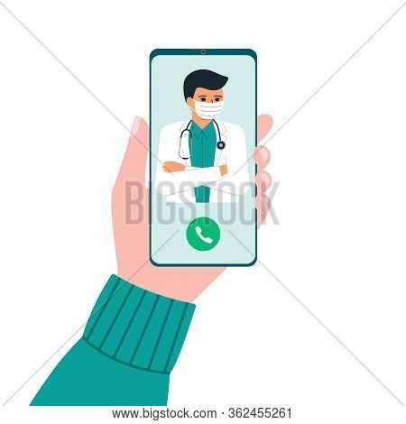 Hand Holding Phone With Man Doctor On Call And An Online Consultation. Smartphone Screen With Therap