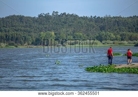 Albergaria / Portugal - 10 08 2018: View At The Lake Of Pateira Fermentelos, Landscape Around And A