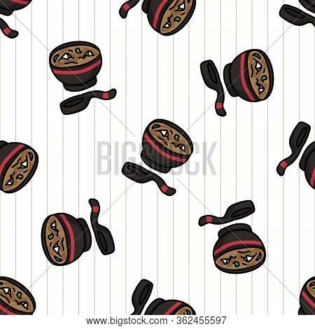 Kawaii Scattered Miso Soup Japanese Meal Seamless Vector Pattern. Hand Drawn Oriental Ramen With Nor