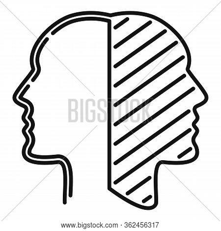 Split Bipolar Disorder Icon. Outline Split Bipolar Disorder Vector Icon For Web Design Isolated On W