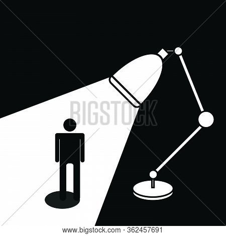 Light From Lamp Shining On Person, Finding Good Person, Monotone Vector Illustration
