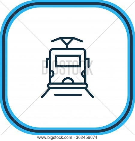 Vector Illustration Of Tram Icon Line. Beautiful Transportation Element Also Can Be Used As Streetca