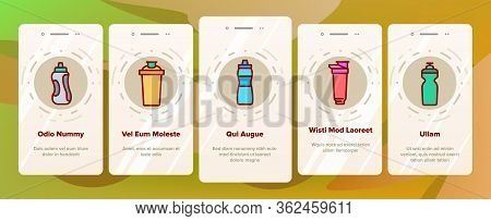Sport Shaker Tool Onboarding Icons Set Vector. Sport Shaker Cup In Different Design, Sportsman Equip