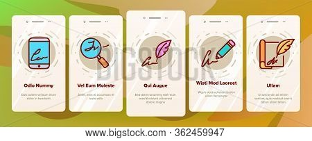 Signature Signing Onboarding Icons Set Vector. Human Own Signature On Partnership Agreement And Mess