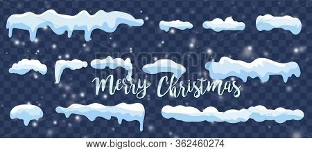 Set Of Snow Icicles, Snow Cap Isolated. Snowy Elements On Winter Background. Vector Template In Cart