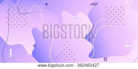 Abstract Purple Brochure. Pink Geometric Shapes. Liquid Journal. Futuristic Presentation. Gradient C