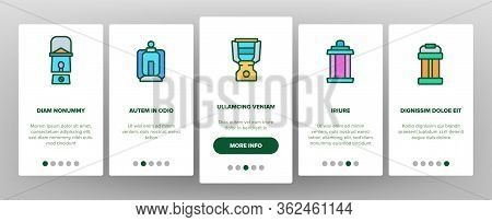 Lantern Equipment Onboarding Icons Set Vector. Vintage And Ancient Lantern, Kerosene Lamp And With C