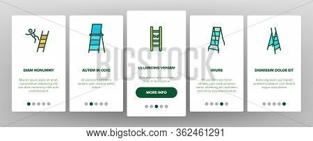 Ladder And Staircase Onboarding Icons Set Vector. Tall And Low, Wooden And Metallic Ladder, Human Fa