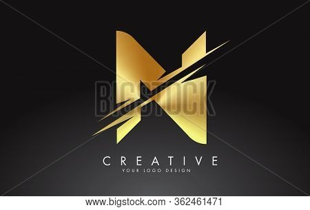 Golden N Letter Logo Design With Creative Cuts. Creative Vector Illustration.