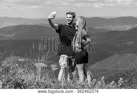 Couple Taking Photo. Couple In Love Hiking Mountains. Lets Take Photo. Capturing Beauty. Man And Wom