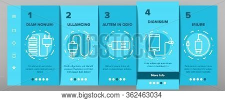 Charger Energy Device Onboarding Icons Set Vector. Wireless And Cable Electrical Charger, Car And Us