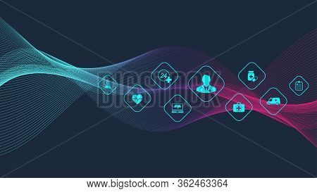 Abstract Medical And Science Healthcare Blue Banner Design Template. Health Care Medicine Concept. M