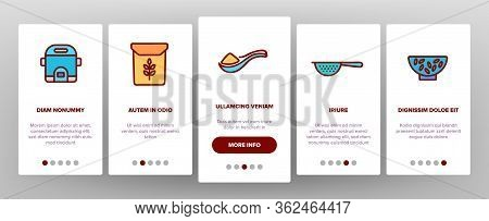 Rice Chinese Culture Onboarding Icons Set Vector. Rice Bread And Boiling Dish, Harvest Bag And Plant