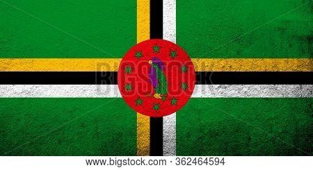 The Commonwealth Of Dominica National Flag. Grunge Background