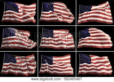 Conceptual grunge style group of waving American flags isolated over black background in a row