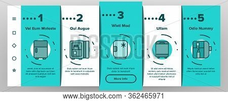 Makeup Fridge Tool Onboarding Icons Set Vector. Makeup Fridge Equipment For Cooling And Storage Cosm