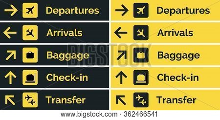 Airport Sign Departure Arrival Travel Icon. Vector Airport Board Airline Sign, Gate Flight Informati