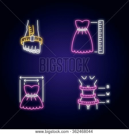 Female Clothing Size Measurements Neon Light Icons Set. Woman Body And Product Dimensions. Bespoke T