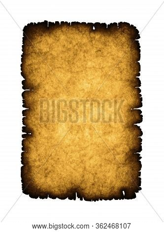 Old Sheet Of Paper With Burnt Edges On White Background