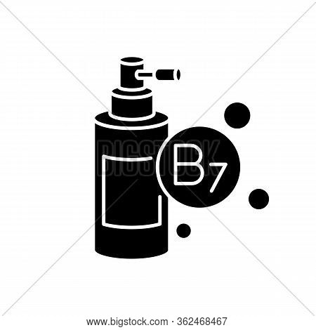 B7 Biotin In Liquid Form Black Glyph Icon. Mist And Spray For Haircare. Chemical Cosmetic Product Fo