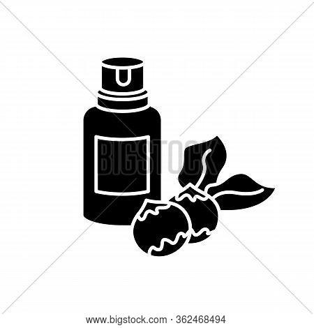 Macadamia Oil Black Glyph Icon. Organic Vegan Essence For Haircare. Australian Nuts Extract. Natural