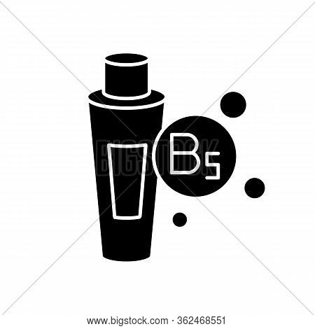 B5 Panthenol In Tube Black Glyph Icon. Medical Ointment. Remedy In Package. Moisturizing Cosmetic Pr