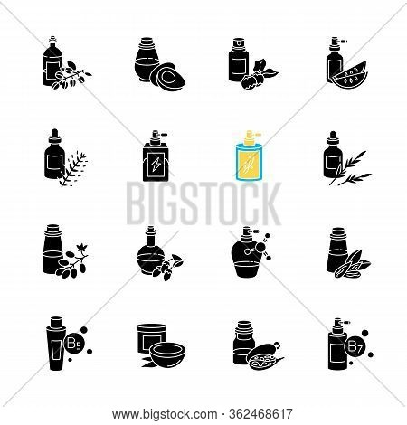 Hair Oils Black Glyph Icons Set On White Space. Hydrolyzed Wheat Protein Cosmetic Product. Almond Ex