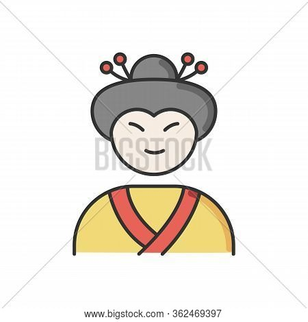 Geisha Rgb Color Icon. Japanese Woman In Asian Attire. Geiko In Costume With Traditional Hairstyle.
