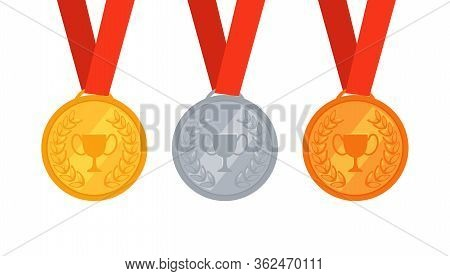 Set Of Three Gold, Silver And Bronze Medals. Award For First, Second And Third Places. Awarding Of W