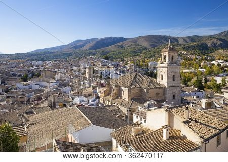 Caravaca, Spain - November 17, 2017: Panorama Of The City Of Caravaca De La Cruz With Many Houses Wi