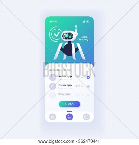 Memory Cleaner Application Smartphone Interface Vector Template. Mobile App Page Light Theme Design