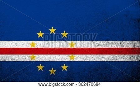The Republic Of Cabo Verde (cape Verde) National Flag. Grunge Background